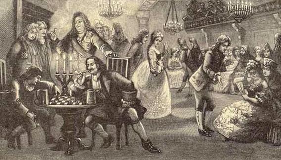 Петр 1 играет в шашки