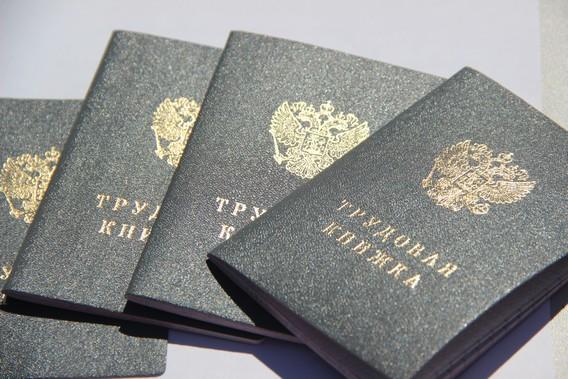 Четыре серых трудовых книжки с гербом